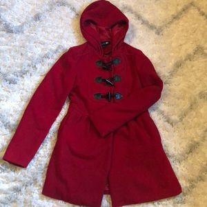 Forever 21 Women's Red Pea Coat
